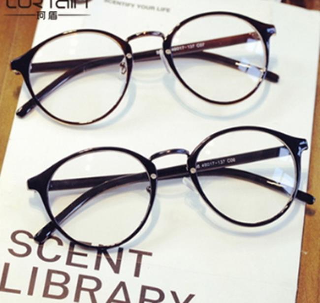 50%OFF【J011436Gls】復古圓形平光鏡 明星同款超輕近視鏡框鏡架066 小清新平光鏡批發附眼鏡盒