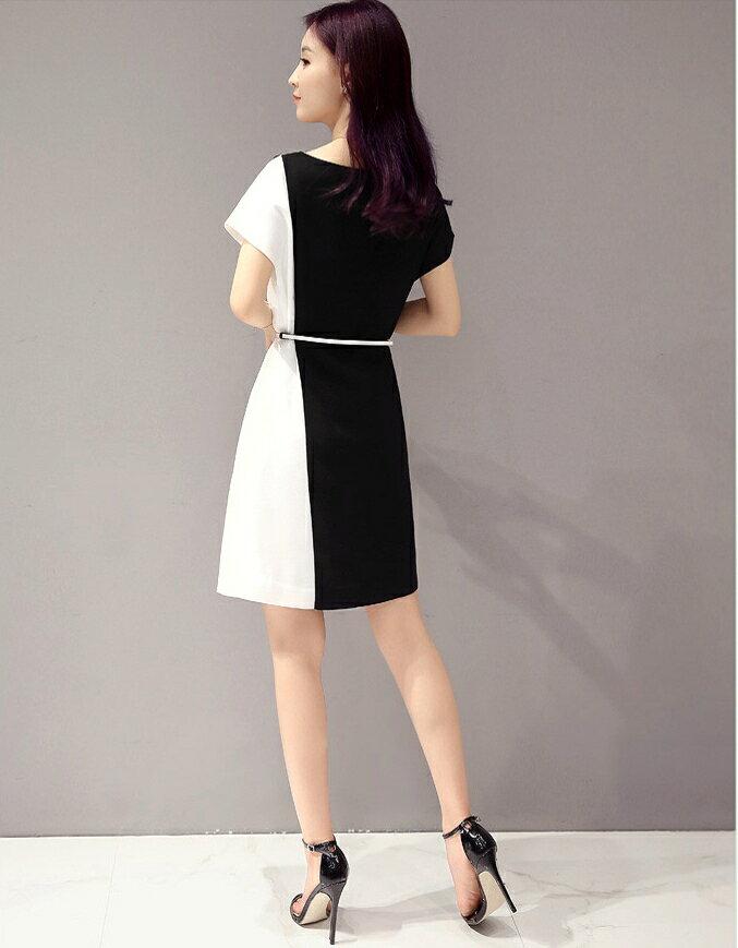 經典時尚.黑白撞色拼接短袖連身裙- shiny藍格子【V2829】 3