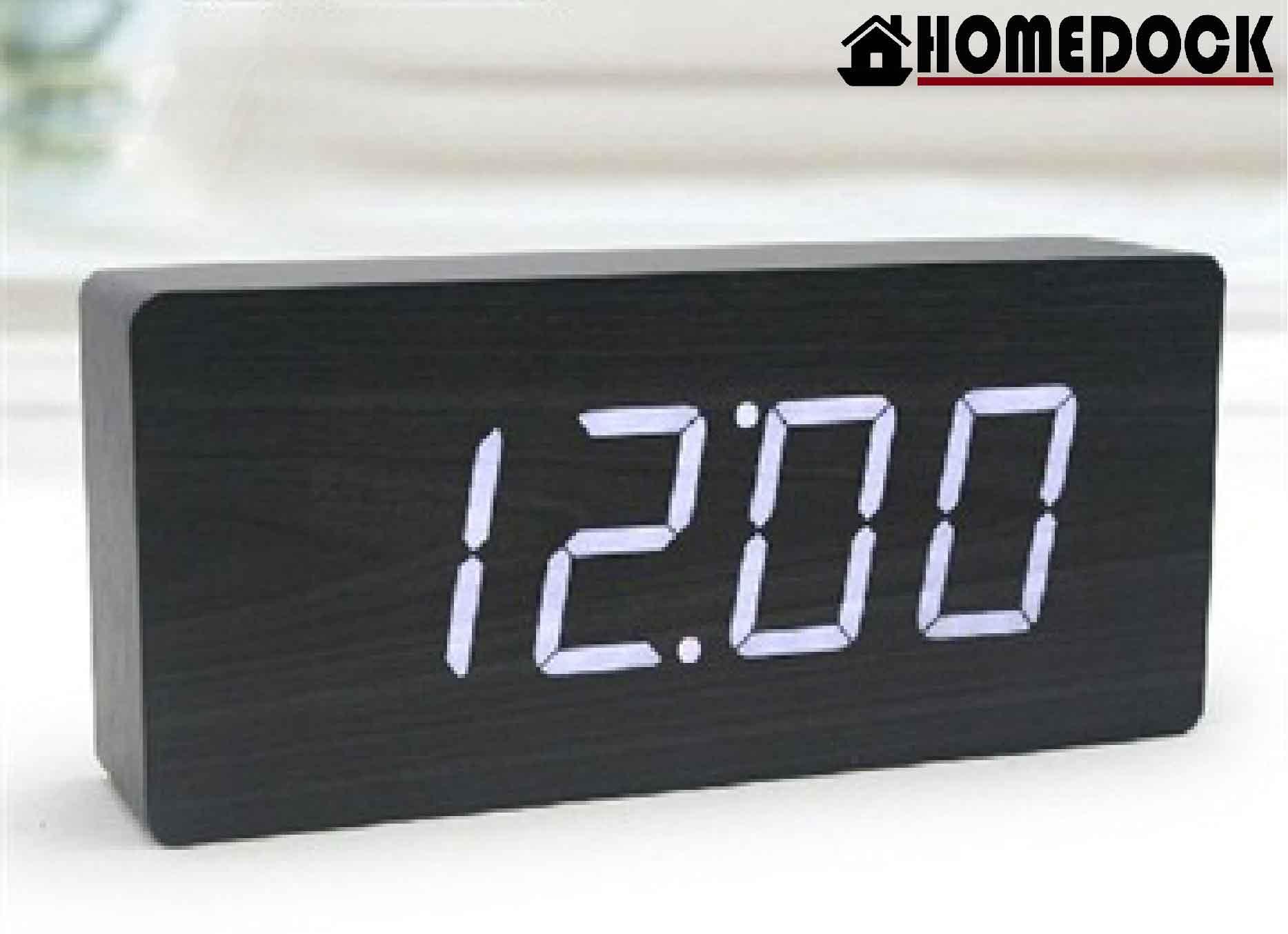 HOMEDOCK-LED 原木質感電子鬧鐘-L款  附溫度計時鐘/錶/桌鐘/電子鐘/LED木頭鐘/