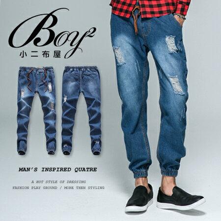 ☆BOY-2☆【NQ95037】 韓版休閒破壞牛仔縮口褲 0