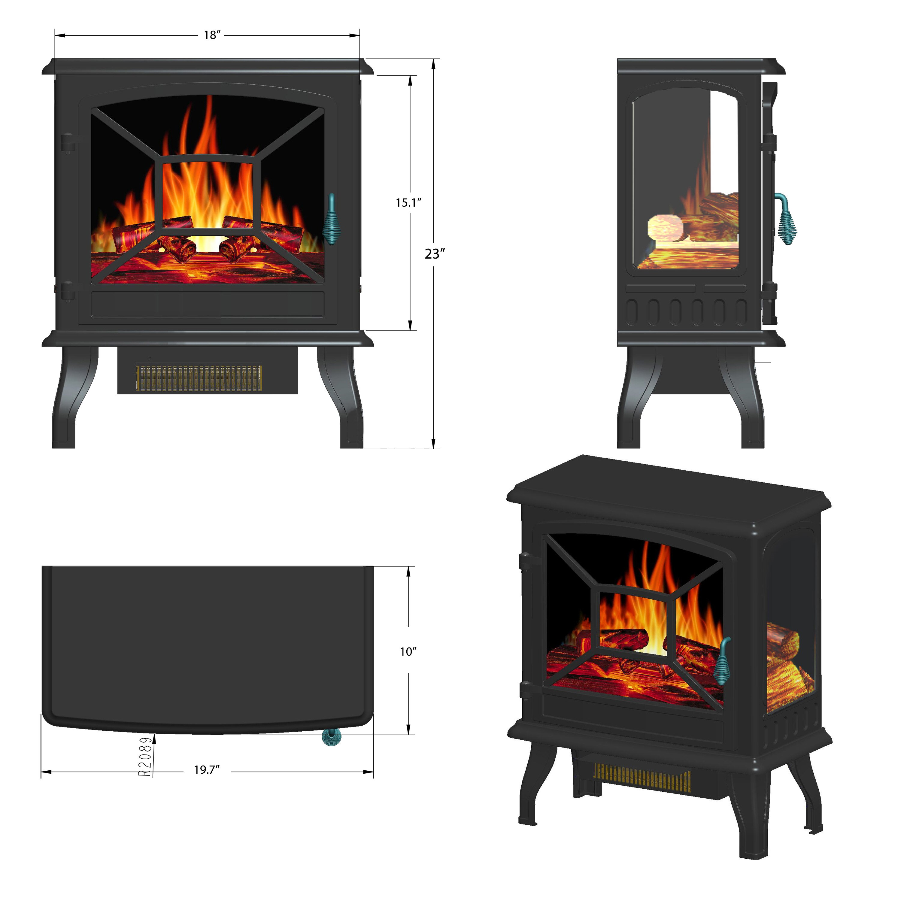 "AKDY 20"" Black Finish Freestanding Electric Fireplace Heater Stove 1"