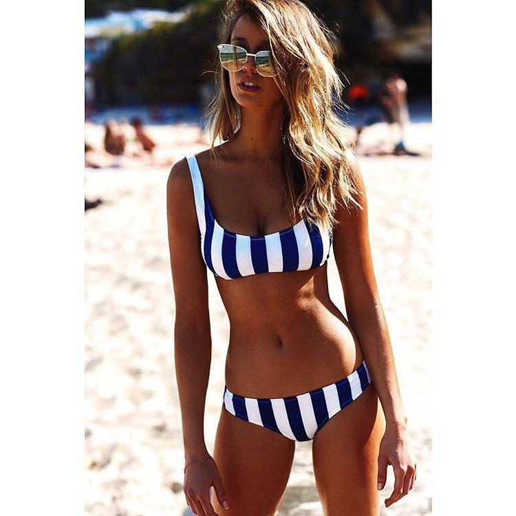 ANK143 歐美新款性感比基尼 黑白條紋背心兩件式泳裝 附胸墊