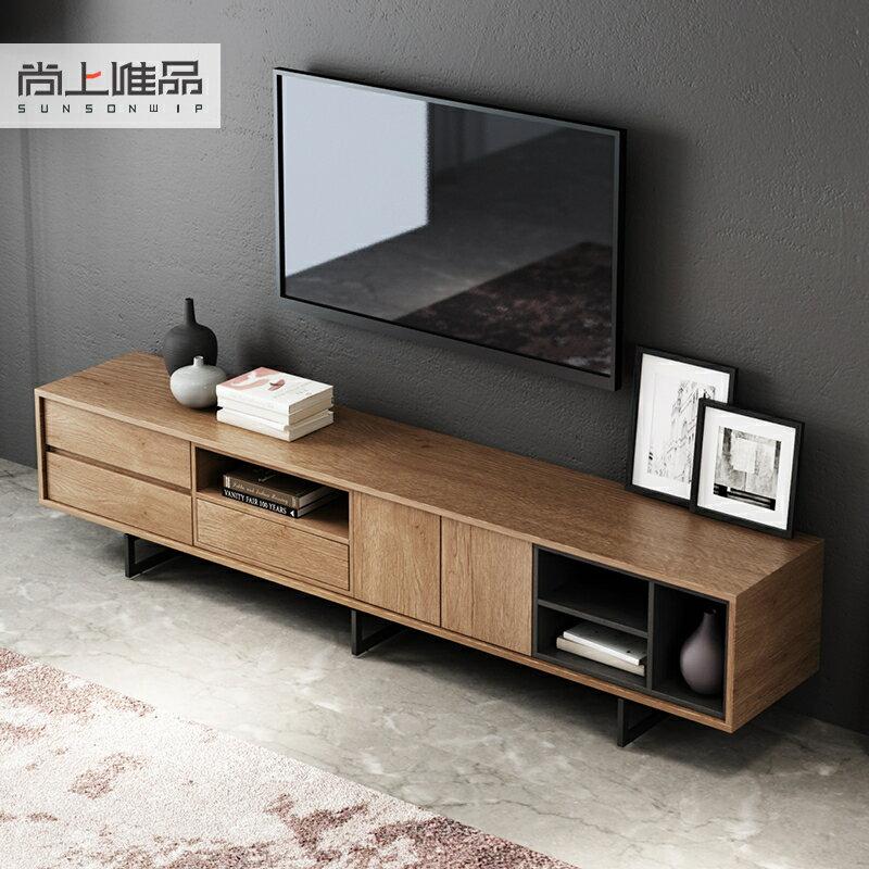 電視櫃 北歐現代簡約電視櫃客廳小戶型金屬極簡電視櫃工業風創意地櫃   麻吉好貨