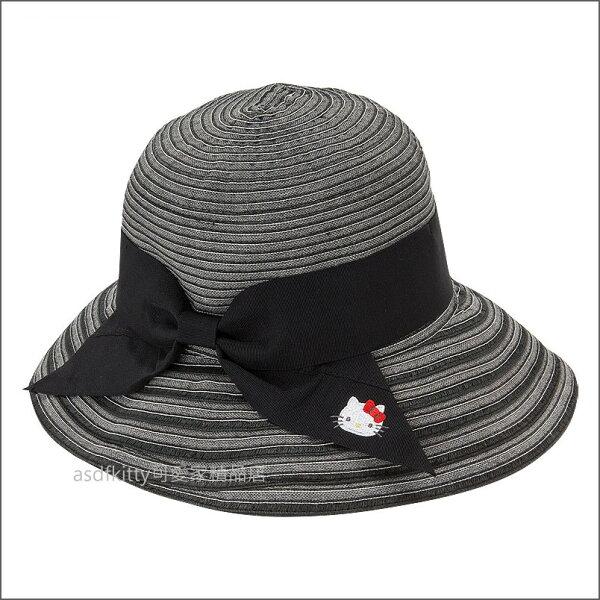 asdfkitty可愛家☆KITTY黑色條紋蝴蝶結可折疊遮陽帽圓邊帽-日本正版商品