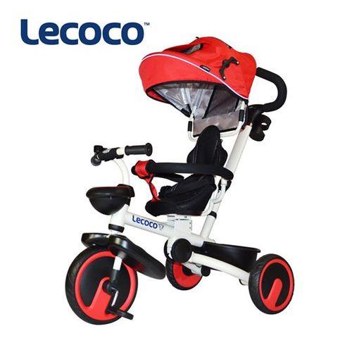 Lecoco白爵士五合一可折疊兒童三輪推車-白紅★衛立兒生活館★
