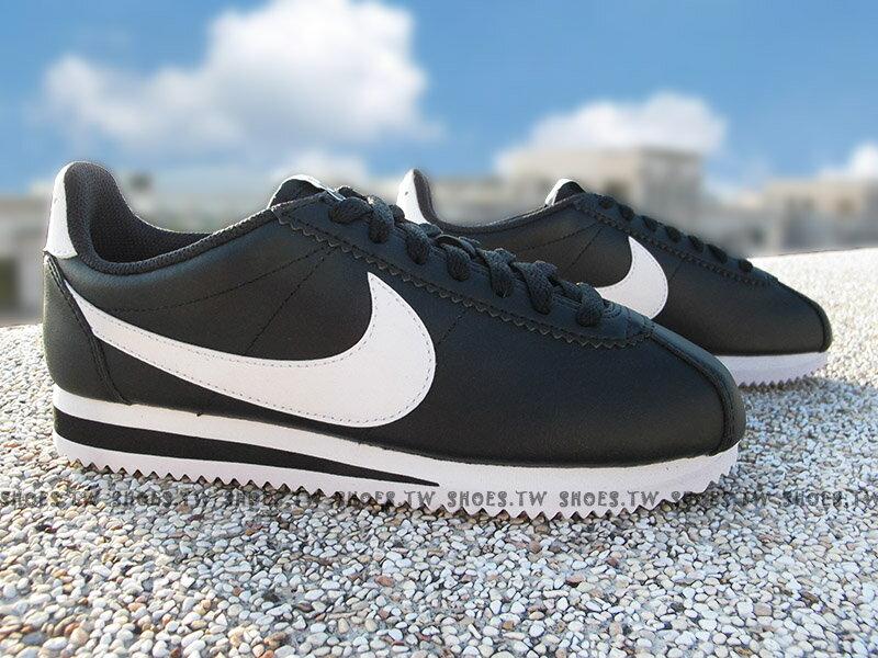 Shoestw【807471-010】NIKE CLASSIC CORTEZ LEATHER 阿甘鞋 皮革 黑白 女生