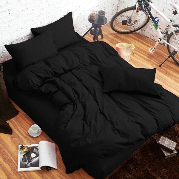 哇哇購:舒柔時尚精梳棉三件式枕套床包組加大黑色哇哇購