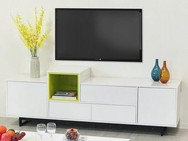 !新生活家具!《珀莉》電視櫃收納櫃長形櫃多功能櫃鐵腳北歐現代綠色黑色