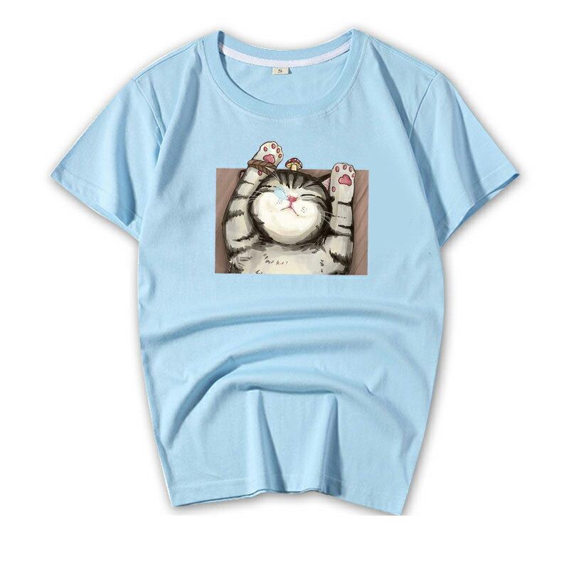 KUSO 搞笑 情侶裝 純棉短T MIT台灣製【YC686-7】短T KUSO睡覺貓 呼嚕貓  動物萌寵 快速出貨 7