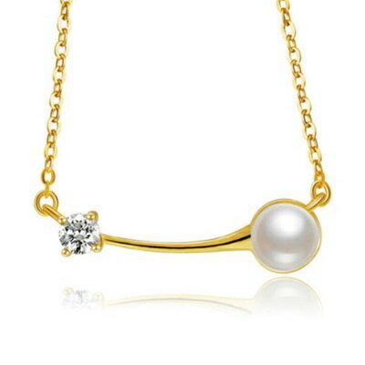 純銀項鍊 鍍18K金珍珠吊墜~細緻優雅鑲鑽 情人節生日 女飾品73dh15~ ~~米蘭 ~