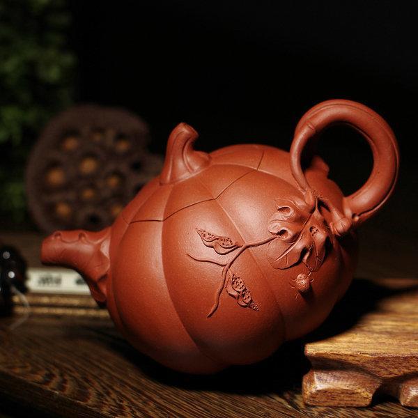 宜興紫砂壺全手工茶壺 正品特價茶壺茶具原礦紅皮龍南瓜370cc