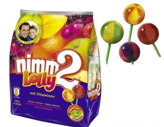 【德潮購】德國進口Nimm2 Lolly維他命/維生素水果棒棒糖 家庭號120G(12入)