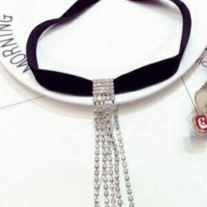 美麗大街【GX513】 韓版秋冬新款明星網潮法蘭絨爪鑲閃鑽流蘇 頸鍊 項鍊