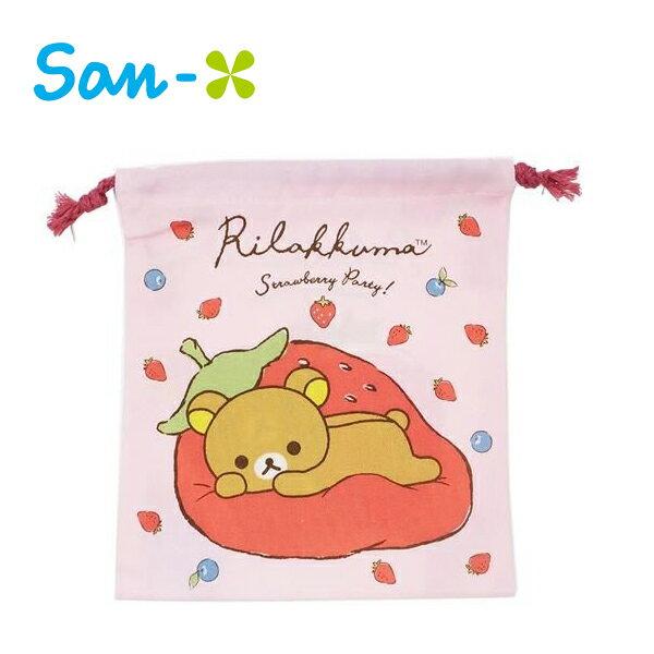 草莓款【日本正版】拉拉熊束口袋收納袋抽繩束口袋懶懶熊RilakkumaSan-X-464981