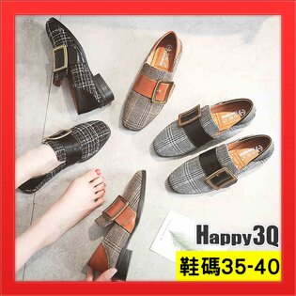 平底鞋淺口女鞋子英倫風格紋百搭逛街耐走穿搭基本款-黑棕灰35-40【AAA3872】