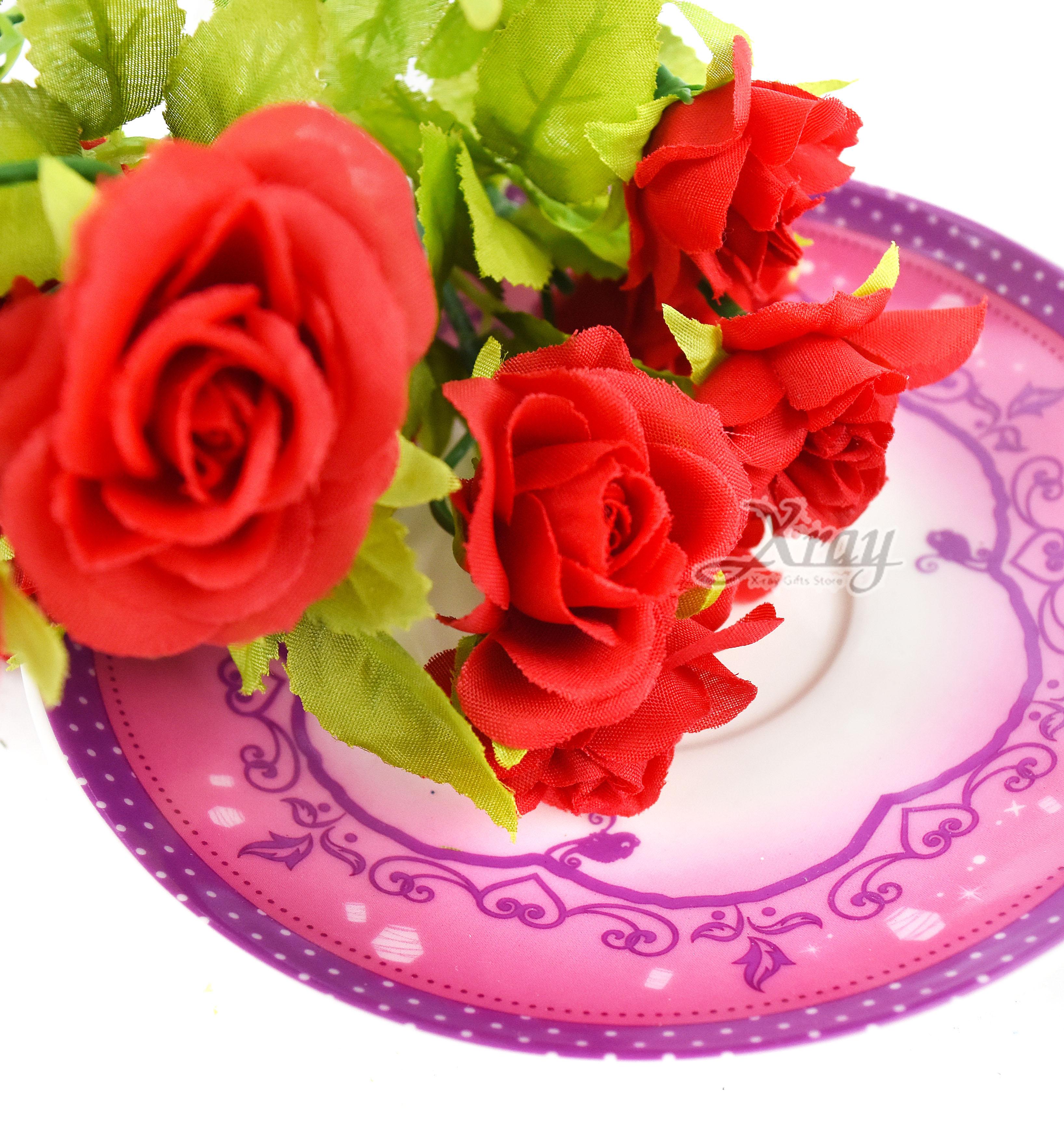 X射線【Y002010】五頭圓心小玫瑰-紅,仿真花 人造花  家飾 婚禮小物 佈置 裝飾 幼兒園 送禮  髮 活動佈置 花束 花園 陽台