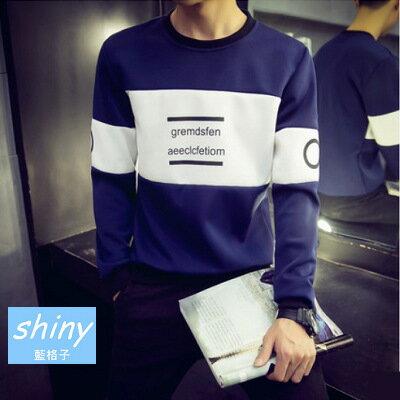 【Y031】shiny藍格子-頹廢元素.春秋款撞色字母圓領太空棉大碼T恤