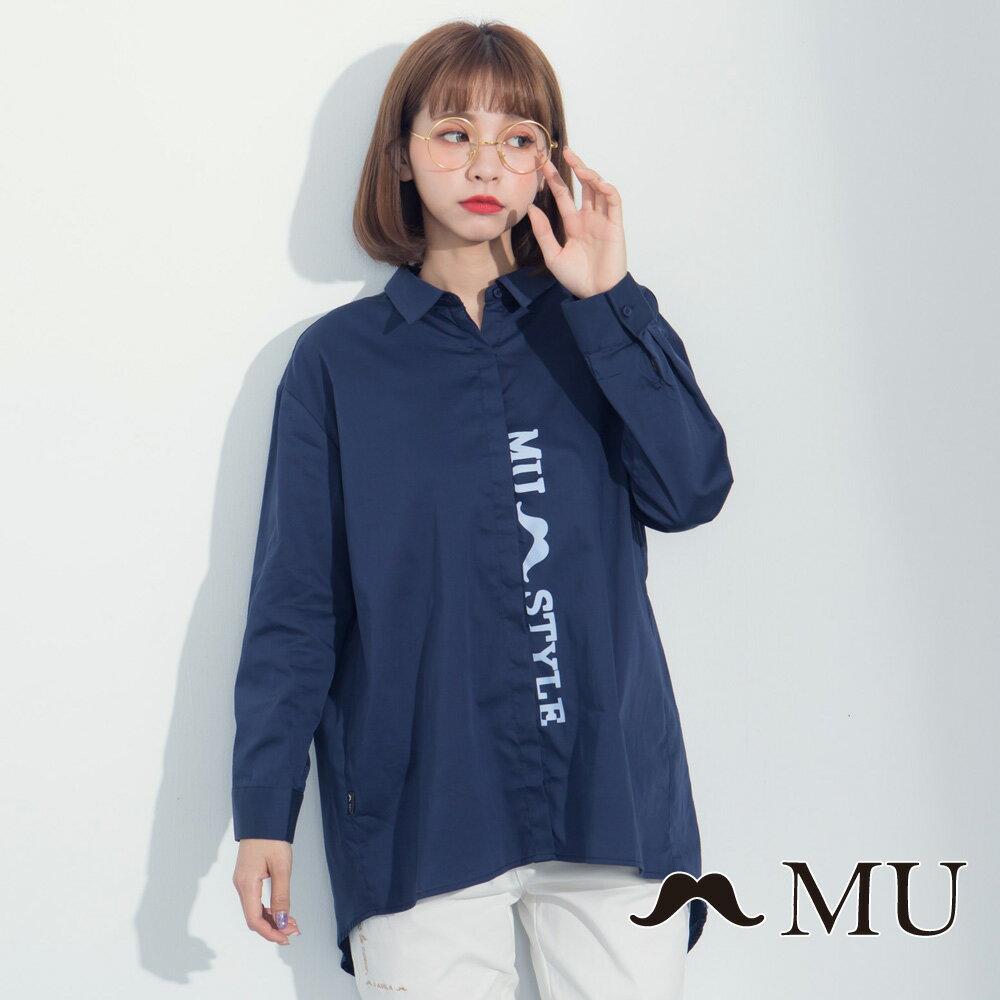 【MU】LOGO印花前短後長後開岔襯衫 8323163 5
