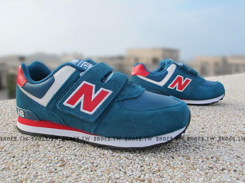 Shoestw【KG574URI】NEW BALANCE 574 童鞋 運動鞋 小童 藍紅 麂皮