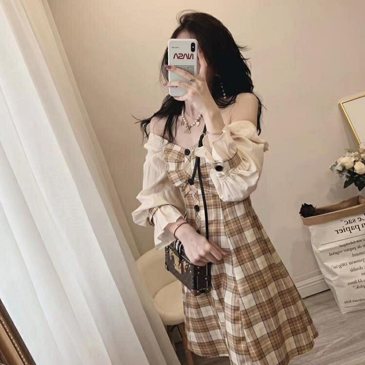 2021年早春新款春季法式高级感名媛设计感气质格子轻奢洋裝子女
