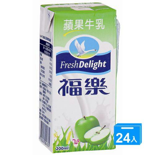 福樂調味乳-蘋果牛乳200ml*24入/箱【愛買】