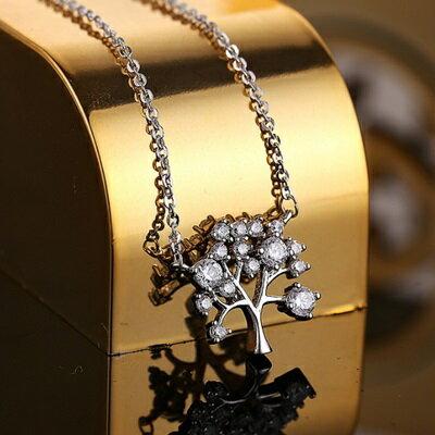 ~純銀項鍊 鍍白金鑲鑽吊墜~精美 小樹 生日情人節 女飾品2色73dw152~ ~~米蘭
