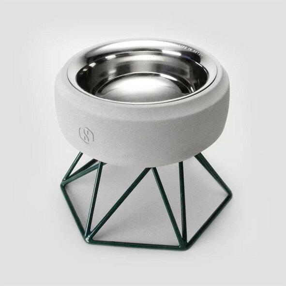 SPUTNIK 寵物碗架 Cozy Cement Bowl - 白水泥+綠架(M1) Pet's Talk 2
