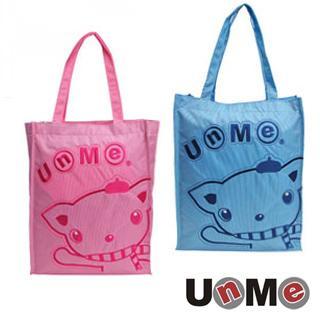 【UNME】 台灣製 便當袋 兒童餐袋 亮面手提袋 1318B (粉藍) (粉紅)兩色