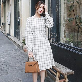 PS Mall學院風格紋長袖連身裙 連身洋裝【T544】