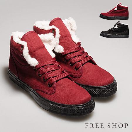 《全店399免運》Free Shop【QSH0402】日韓風格內裏保暖毛絨造型綁帶中高筒帆布休閒鞋‧二色(U53) MIT台灣製