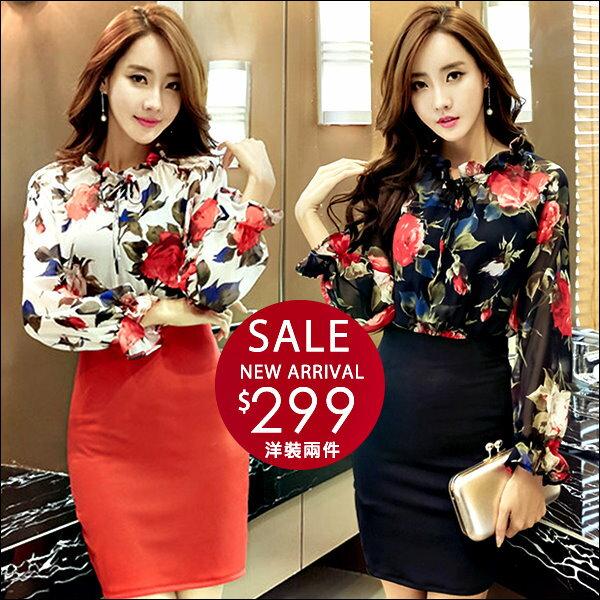 ☆克妹☆現貨+預購【AT42240】korea名媛派對玫瑰花朵綁帶雪紡包臀連身洋裝