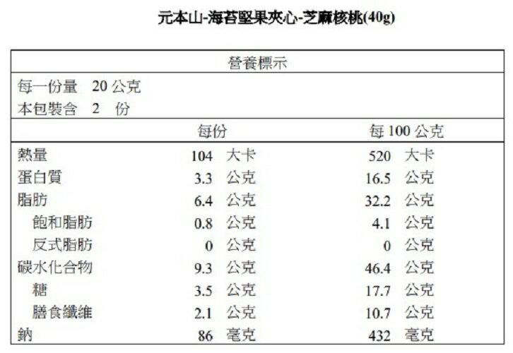 【元本山】海苔堅果夾心-芝麻核桃(40g)