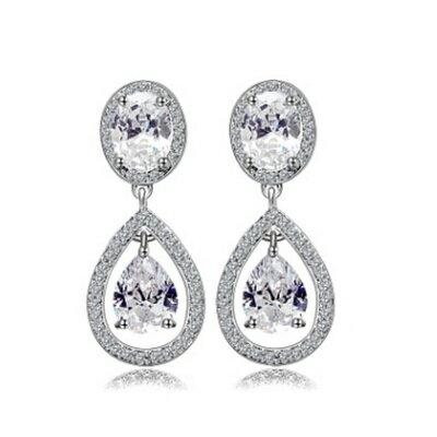 純銀耳環鍍白金鑲鑽耳飾~ 簡約大方水滴情人節生日 女飾品73cr64~ ~~米蘭 ~