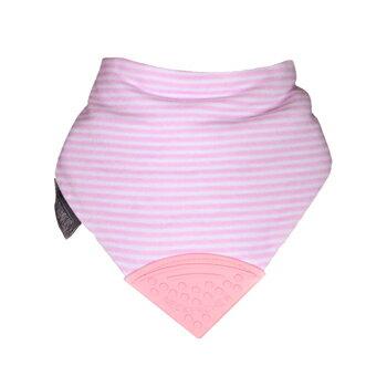 英國Cheeky Chompers咬咬兜 圍兜 口水巾 三角領巾 固齒器-【Cool Pink 粉紅搖滾】