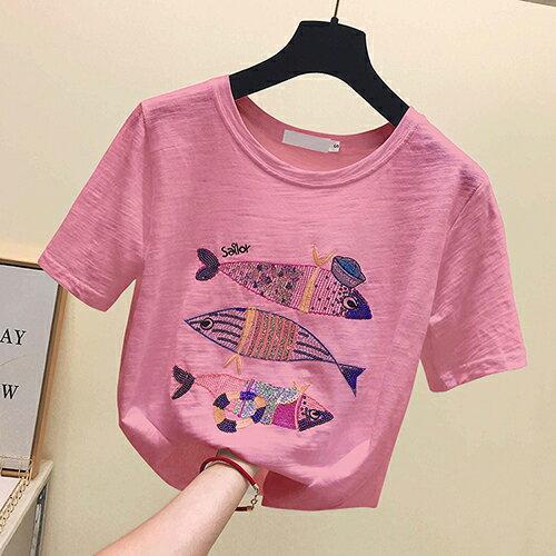 *ORead* 小魚刺繡純棉寬鬆T恤(3色S~XL) 0