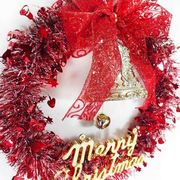 摩達客 紅金系金蔥聖誕星星花圈(14吋)(本島免運費)YS-MTW14007