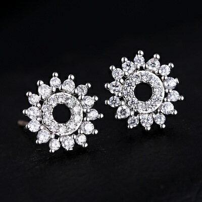 ~925純銀耳環鑲鑽耳飾~華麗太陽花 生日情人節 女飾品2色73hz64~ ~~米蘭 ~