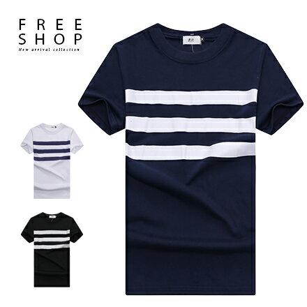 Free Shop 休閒百搭胸前三橫條紋撞色膠印圓領棉質短T短袖上衣潮T恤 三色 MIT