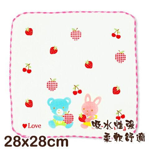 可愛動物純棉紗布方巾 熊與兔印花 平價高品質的選擇 台灣製