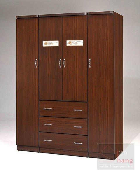 【尚品傢俱】GF-D07 楓情胡桃 5x7尺衣櫃/收納櫃/置物櫃(附內鏡)~另有白橡色