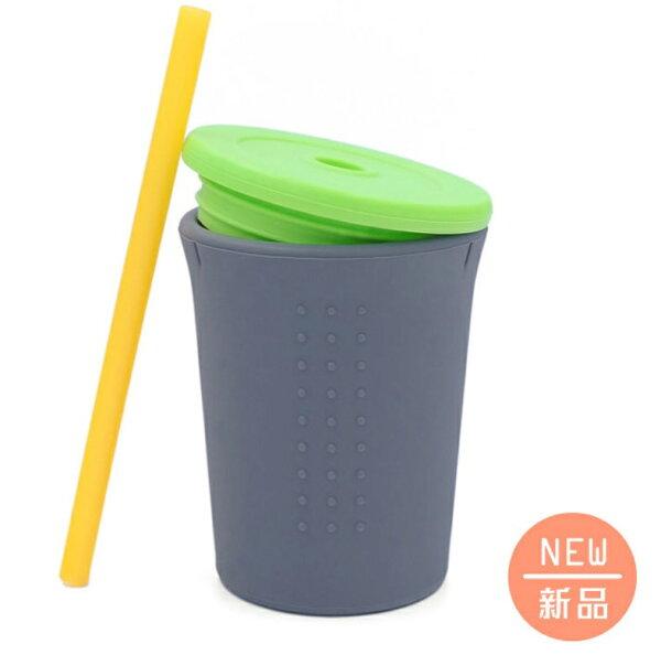 【淘氣寶寶】美國Silikids果凍餐具-【TOGO矽膠吸管杯組12oz】酷灰【保證原廠公司貨】