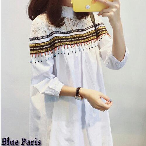 襯衫 ~ 民族風立領中長款襯衫 七分袖寬鬆上衣 娃娃裝~28025~~黑  白~ Blue