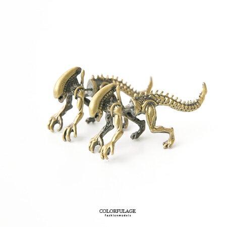 耳環 小誇張大趣味 精緻仿真立體恐龍穿式耳針 個性造型配件 柒彩年代【ND274】中性款式 - 限時優惠好康折扣