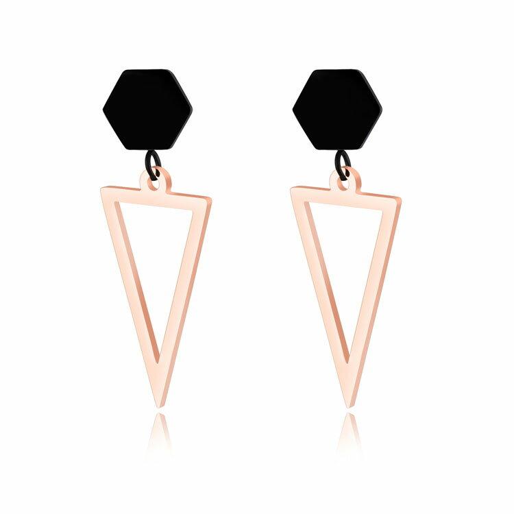 【5折超值價】時尚精美精緻簡約個性鏤空三角造型女款鈦鋼耳飾 - 限時優惠好康折扣
