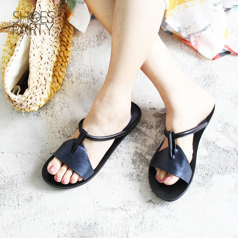馬上出貨【F2-18425L】世界系列-倒垃圾穿它最時尚-真皮拖鞋_Shoes Party 3