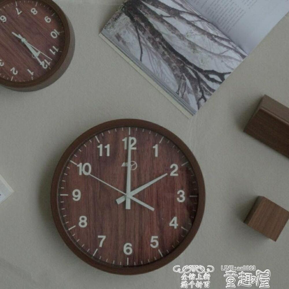 掛鐘 掛鐘客廳靜音復古時鐘臥室圓形數字仿木掛錶現代簡約創意石英鐘錶   全館八五折