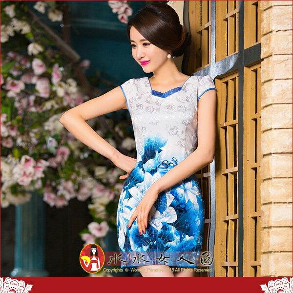 【水水女人國】~夏日花樣旗袍中國風~藍荷。復古提花棉定位花修身超顯瘦改良式時尚短旗袍