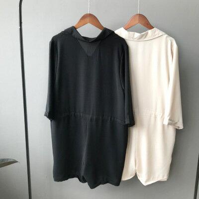 韓系女裝七分袖收腰繫帶闊腿連身短褲樂天時尚館。預購。[全店免運]