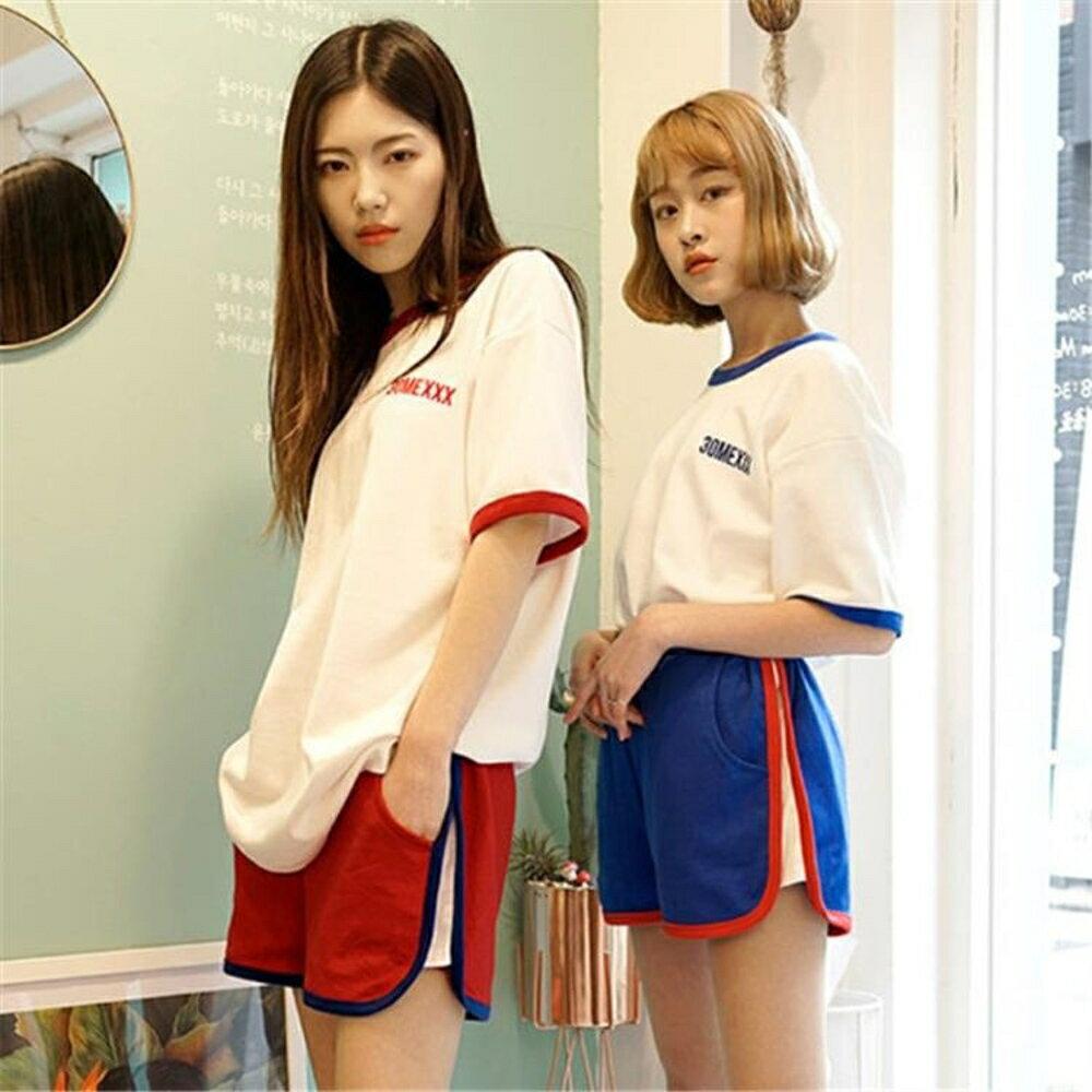 休閒運動套裝女夏新款韓版跑步服原宿bf風網紅同款短褲兩件套 雙12購物節