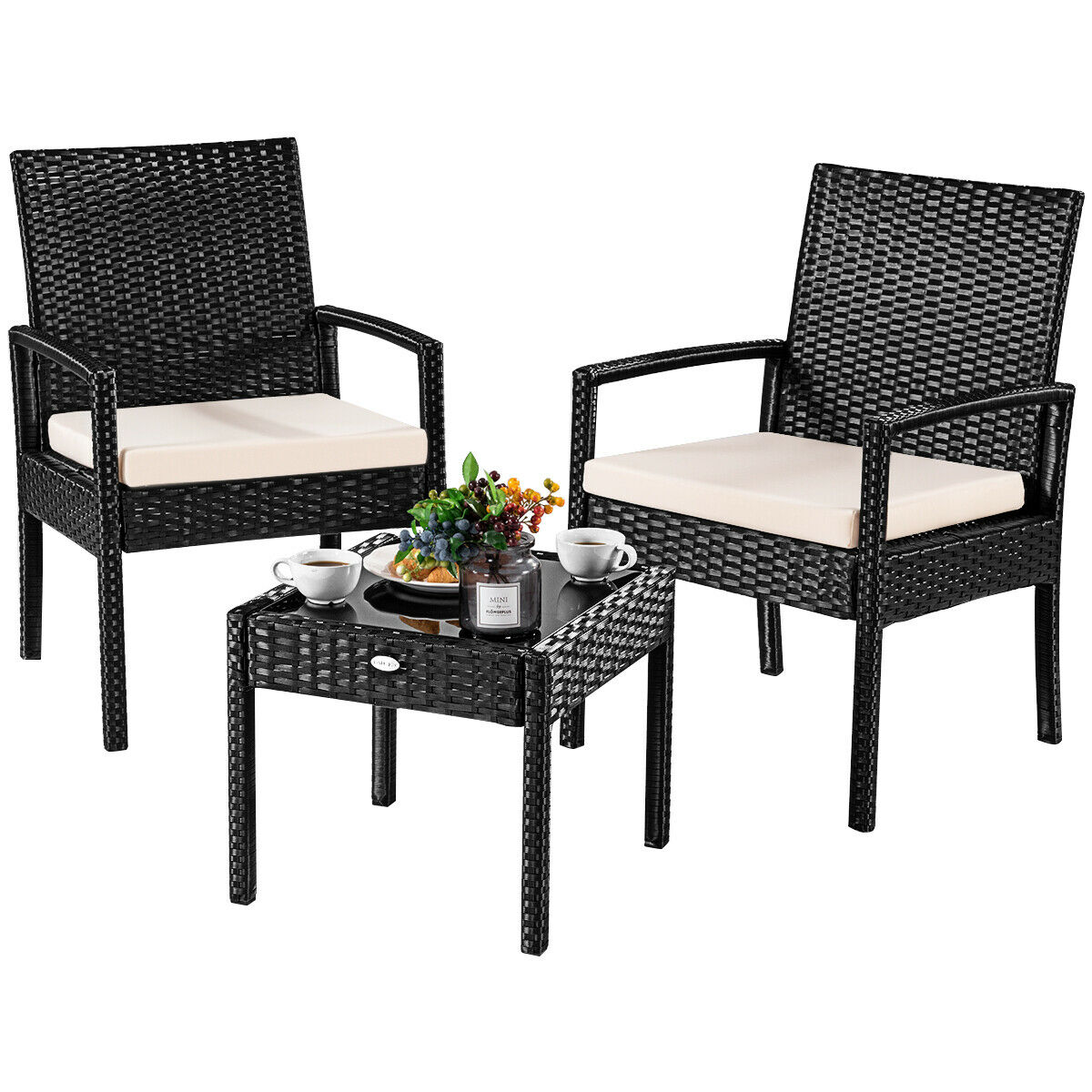 Charmant Costway 3 PS Outdoor Rattan Patio Furniture Set Backyard Garden Furniture  Seat Cushioned